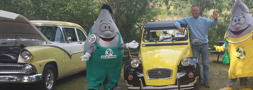 Mascots and Car Buff at Moose Jaw Car Show